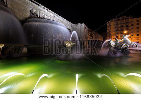 Illuminated Fountain In The Jardim Da Alameda