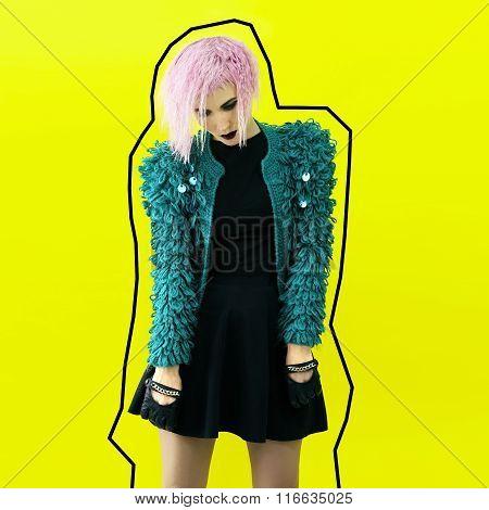 Dramatic.lady In Stylish Jacket. Party Style