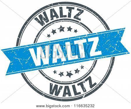 Waltz Blue Round Grunge Vintage Ribbon Stamp