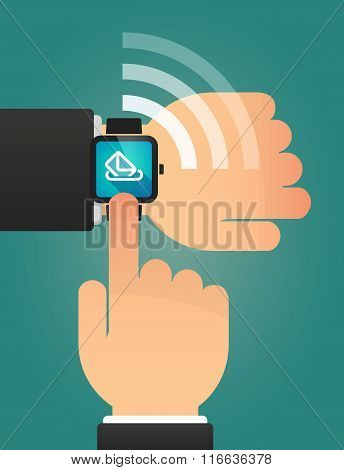 Hand Pointing A Smart Watch With  A Ballot Box