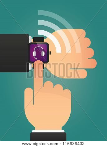 Hand Pointing A Smart Watch With  A Hands Free Phone Device