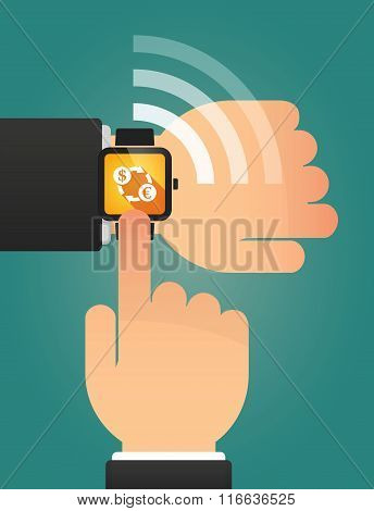 Hand Pointing A Smart Watch With A Dollar Euro Exchange Sign