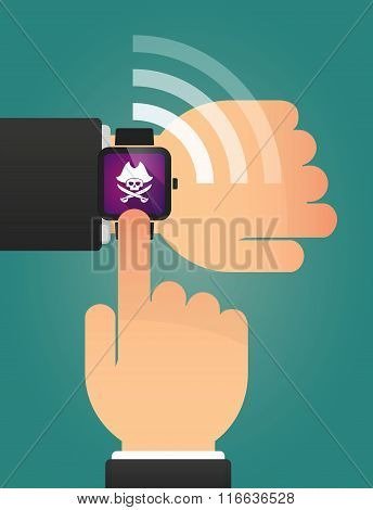 Hand Pointing A Smart Watch With A Pirate Skull