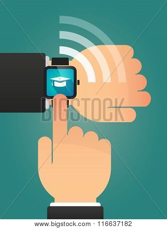 Hand Pointing A Smart Watch With A Graduation Cap