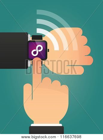 Hand Pointing A Smart Watch With An Infinite Sign
