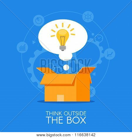 Thinking out of the box vector concept background. Lightbulb showing up from cardboard packing and s
