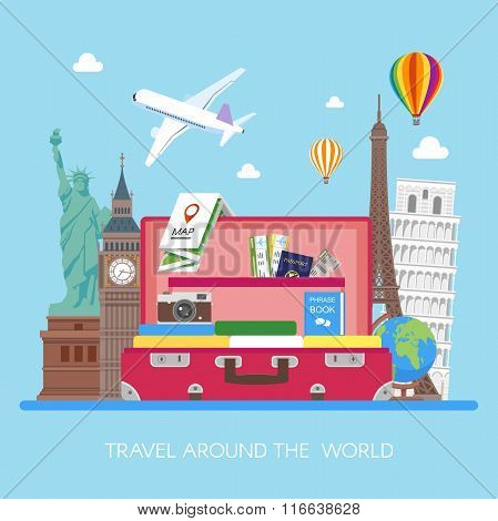 Travel concept vector illustration in flat style design. Airplane flying above tourists luggage