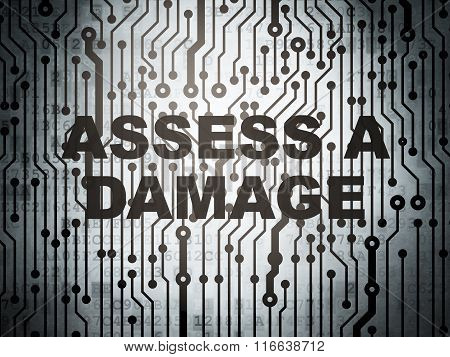 Insurance concept: circuit board with Assess A Damage