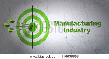 Manufacuring concept: target and Manufacturing Industry on wall background