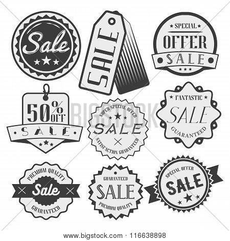 Vector set of sale and discount labels, badges, tags, icons. Special offer. Emblems, stickers in mon