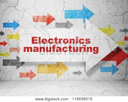 Industry concept: arrow with Electronics Manufacturing on grunge wall background