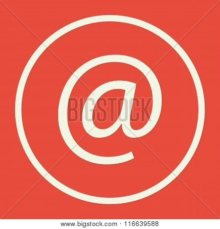 Email Icon, On Red Background, White Circle Border, White Outline