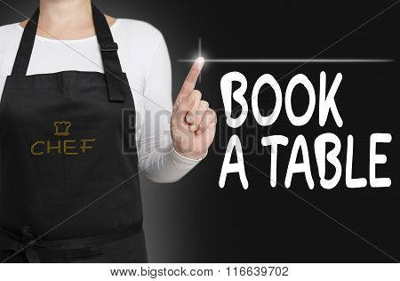 Book A Table Touchscreen Is Operated By Chef Concept