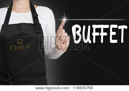 Buffet Touchscreen Is Operated By Chef Concept