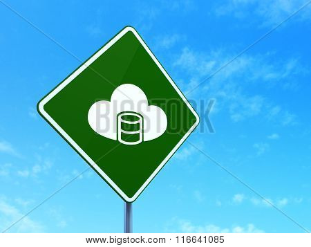 Programming concept: Database With Cloud on road sign background
