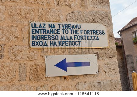 Entrance Plaque Of St. John Fortress In Kotor, Montenegro