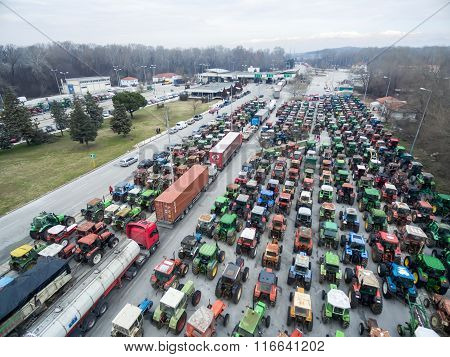 Aerial Photographs Tractors That Have Lined Up The Farmers At The Border Of Greece With Bulgaria To