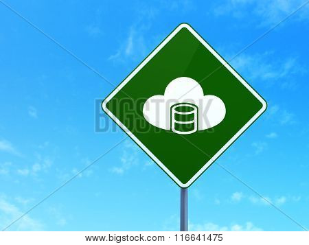 Software concept: Database With Cloud on road sign background