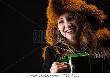 Portrait attractive smiling woman with fur hat