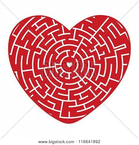 Red Heart of the Labyrinth on a white background. Vector illustration.