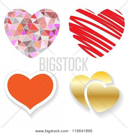 Set of red hearts on a white background. Vector illustration.