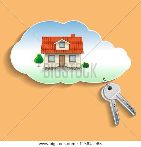 Private House in the Cloud with the Keys. Business Concept, Credit, Security. Illustration, vector EPS10.