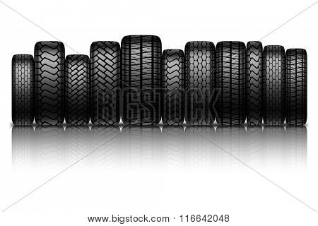 Car tires isolated on white background. Vector illustration.