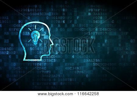Learning concept: Head With Lightbulb on digital background