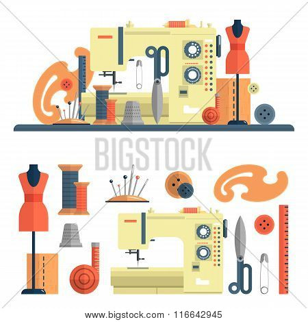 Sewing machine, accessories for dressmaking and handmade fashion. Vector set of flat icons, isolated