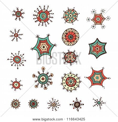 Hand drawn colorful snowflakes doodles