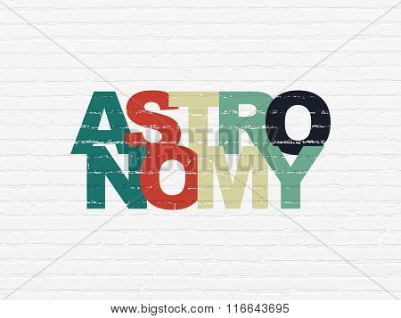 Learning concept: Astronomy on wall background