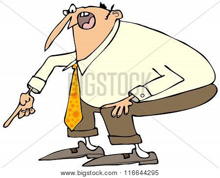 Angry businessman pointing down