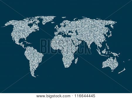 Drawing world map on a white background