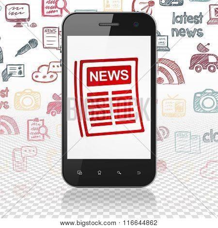 News concept: Smartphone with Newspaper on display