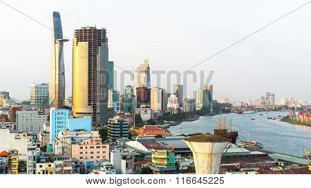 SAIGON, VIETNAM - JAN 19, 2016: Top view of Ho Chi Minh City. Ho Chi Minh, former Saigon, is located in the South of Vietnam, is the country's largest city, population 8 million.