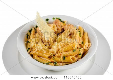 Pasta with meat, covered cheese and sauce