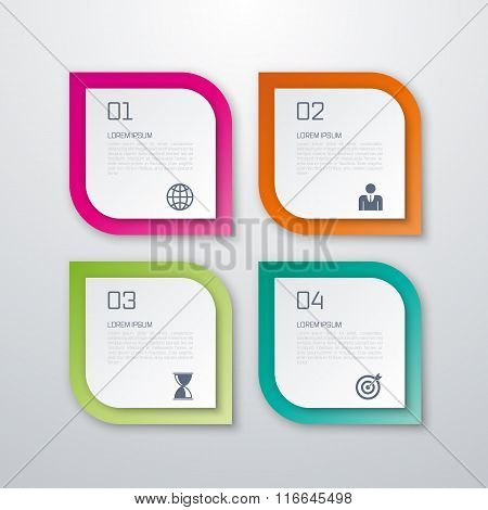 Vector illustration of paper squares infographics