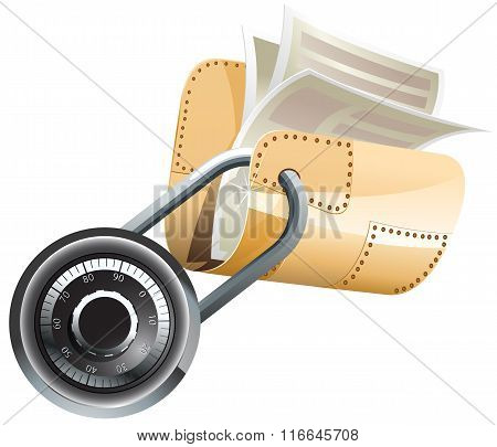 Locked steel folder with documents