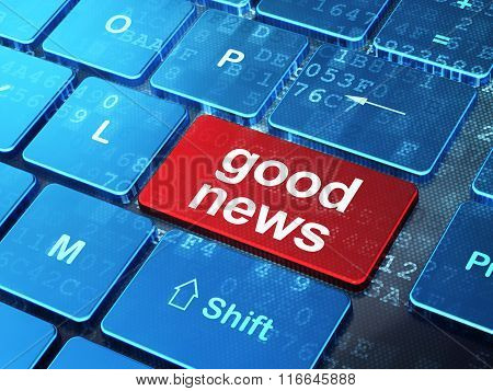 News concept: Good News on computer keyboard background