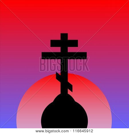 The Orthodox Cross At Sunset Background.