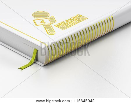 News concept: closed book, Breaking News And Microphone on white background