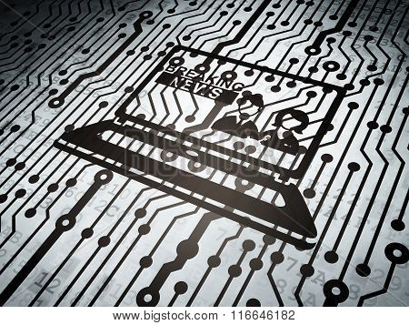 News concept: circuit board with Breaking News On Laptop
