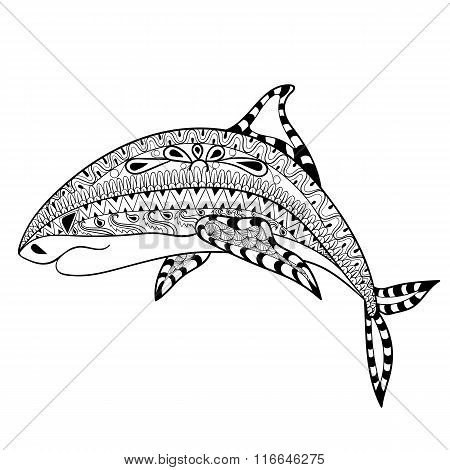 Zentangle Shark totem for adult anti stress Coloring Page for ar