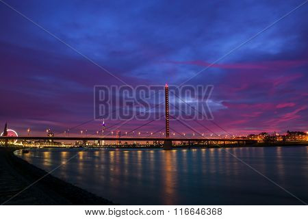 Sunset over the river rhine in Dusseldorf