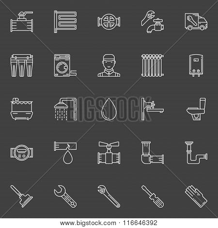 Sanitary engineering line icons