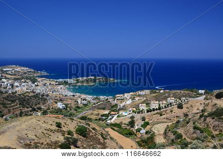Super wide view of Agia Pelagia's bay  in Crete, Greece, ** Note: Soft Focus at 100%, best at smaller sizes