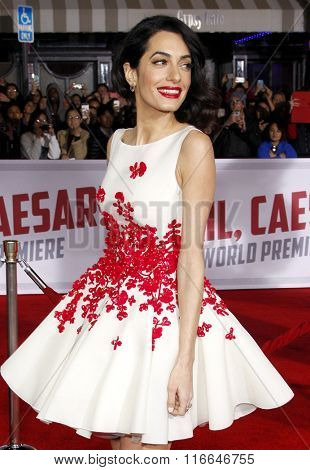 Amal Clooney at the World premiere of 'Hail, Caesar!' held at the Regency Village Theatre in Westwood, USA on February 1, 2016.