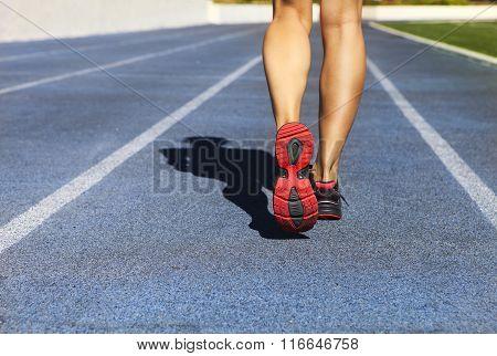 Athlete Runner Feet Down Stadium Track