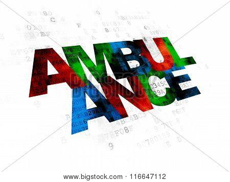 Medicine concept: Ambulance on Digital background