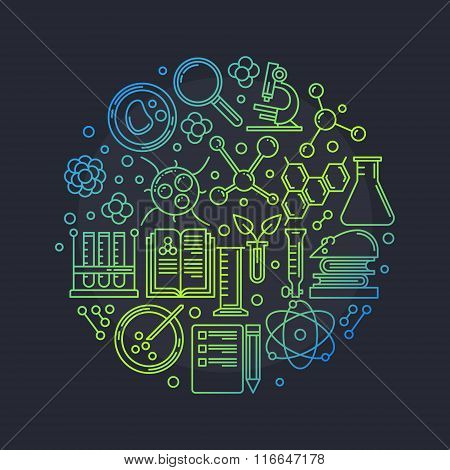 Biotechnology round vector illustration